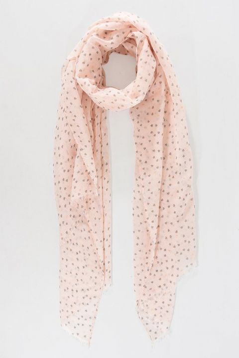 PINK AND GREY TINY HEART SCARF